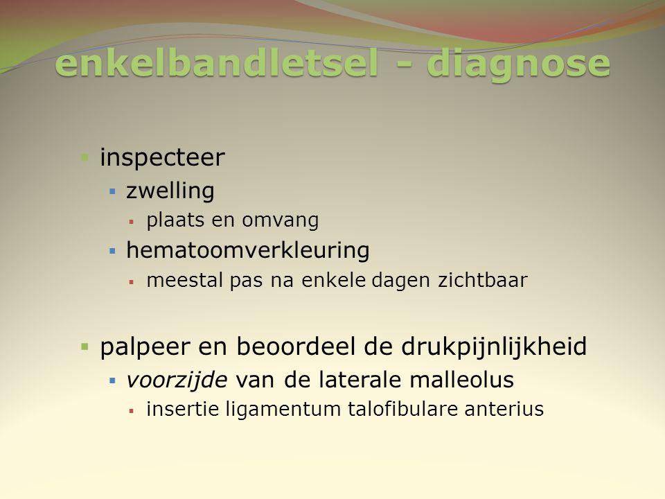 enkelbandletsel - diagnose  inspecteer  zwelling  plaats en omvang  hematoomverkleuring  meestal pas na enkele dagen zichtbaar  palpeer en beoor