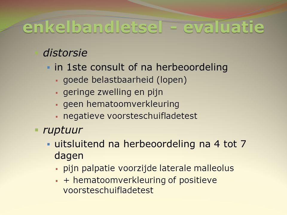enkelbandletsel - evaluatie  distorsie  in 1ste consult of na herbeoordeling  goede belastbaarheid (lopen)  geringe zwelling en pijn  geen hemato