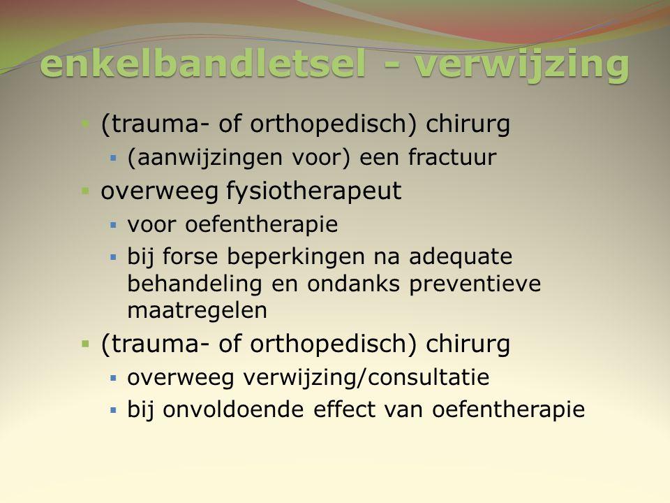 enkelbandletsel - verwijzing  (trauma- of orthopedisch) chirurg  (aanwijzingen voor) een fractuur  overweeg fysiotherapeut  voor oefentherapie  b