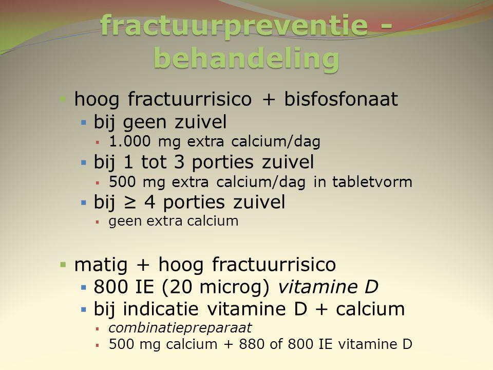 fractuurpreventie - behandeling  hoog fractuurrisico + bisfosfonaat  bij geen zuivel  1.000 mg extra calcium/dag  bij 1 tot 3 porties zuivel  500
