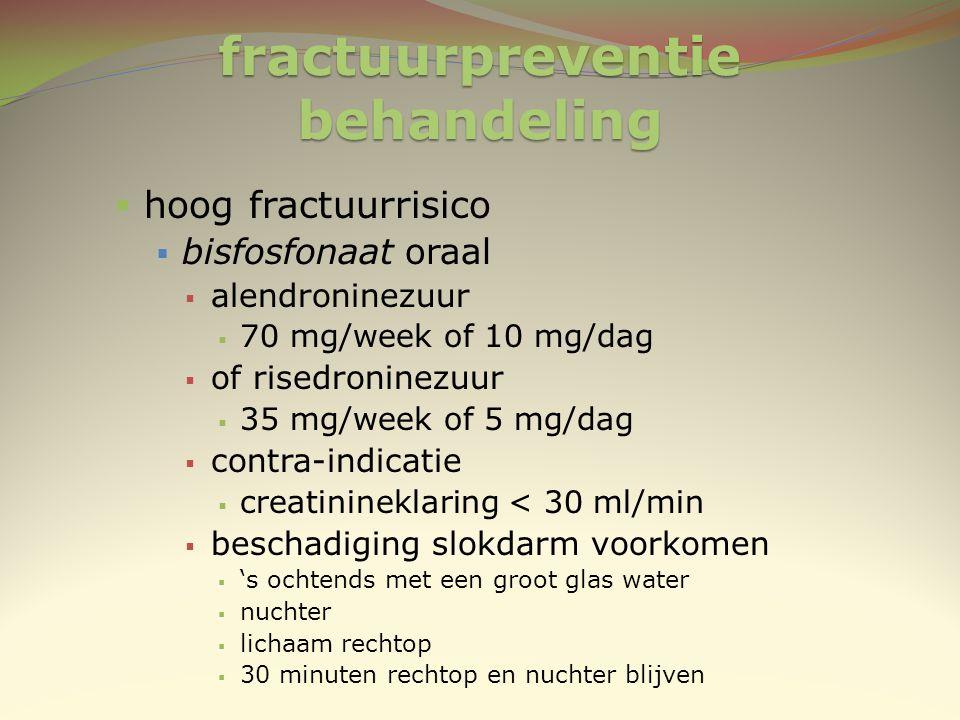 fractuurpreventie behandeling  hoog fractuurrisico  bisfosfonaat oraal  alendroninezuur  70 mg/week of 10 mg/dag  of risedroninezuur  35 mg/week