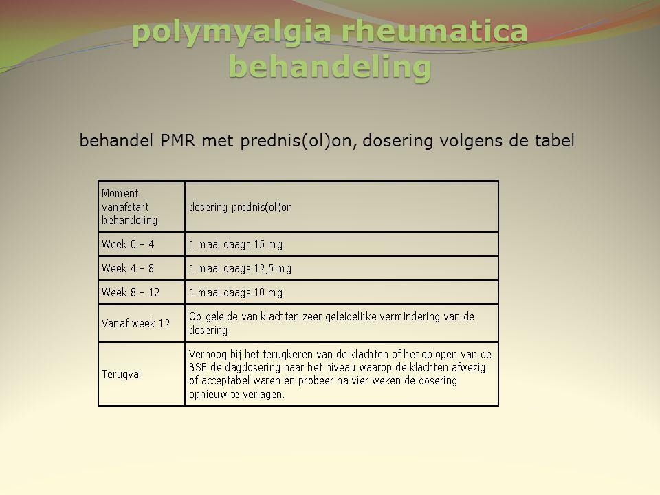 polymyalgia rheumatica behandeling behandel PMR met prednis(ol)on, dosering volgens de tabel