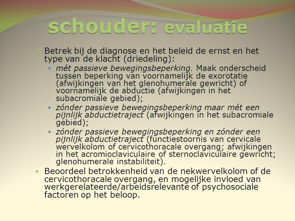 schouder: evaluatie  Betrek bij de diagnose en het beleid de ernst en het type van de klacht (driedeling):  mét passieve bewegingsbeperking. Maak on