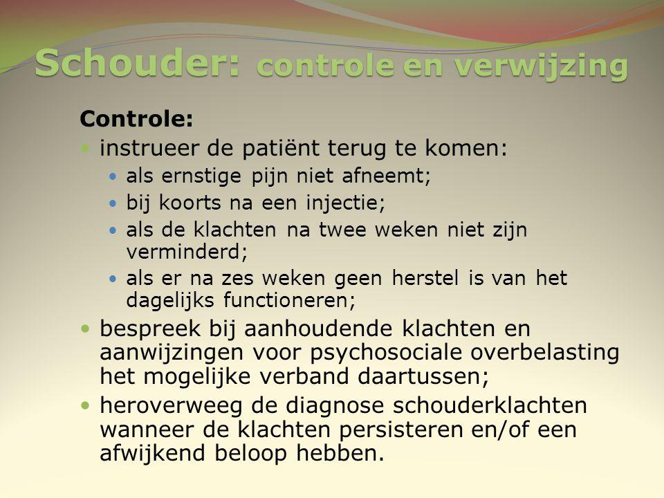 Schouder: controle en verwijzing Controle: instrueer de patiënt terug te komen: als ernstige pijn niet afneemt; bij koorts na een injectie; als de kla