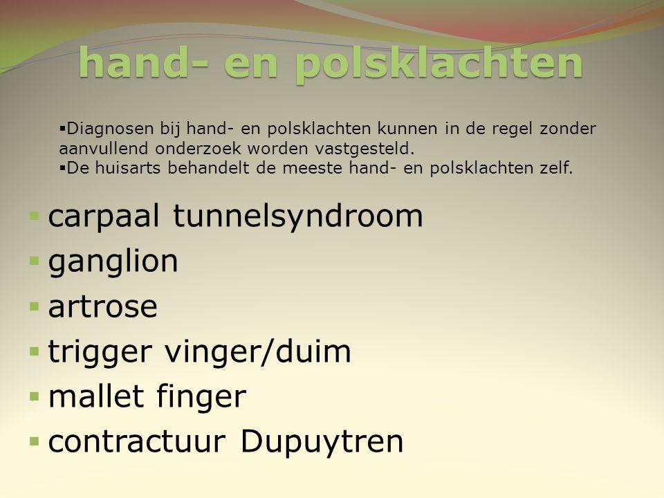 hand- en polsklachten  carpaal tunnelsyndroom  ganglion  artrose  trigger vinger/duim  mallet finger  contractuur Dupuytren  Diagnosen bij hand