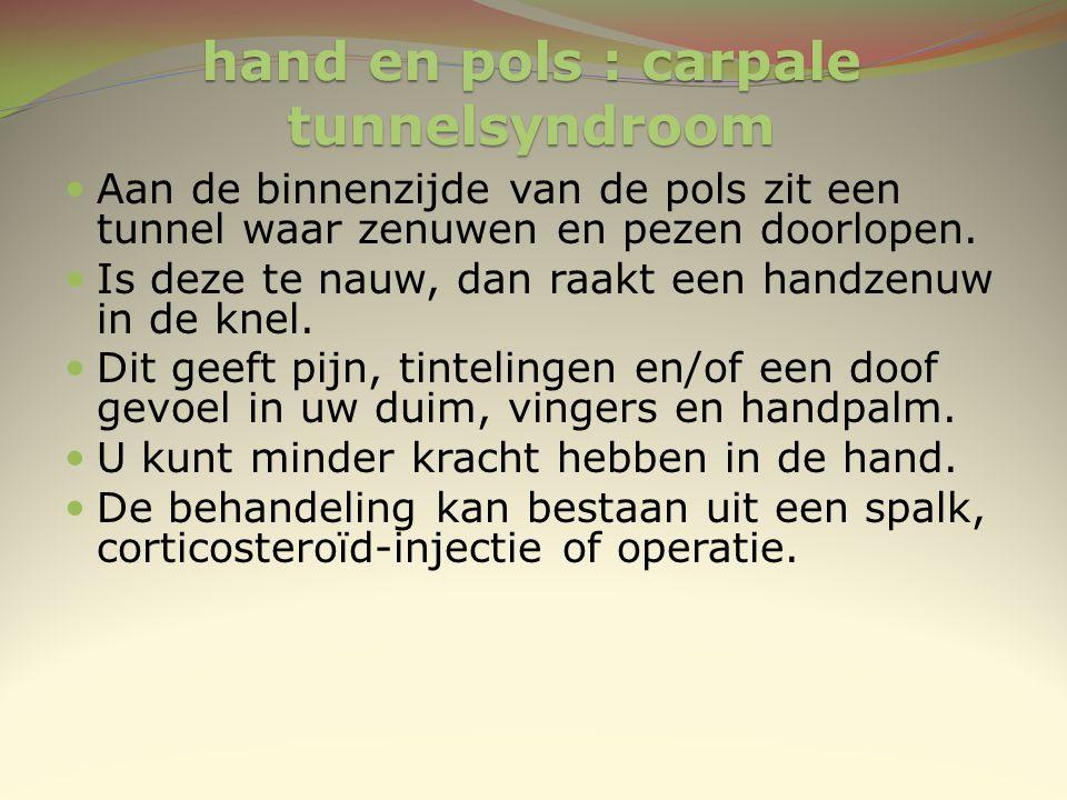 hand en pols : carpale tunnelsyndroom Aan de binnenzijde van de pols zit een tunnel waar zenuwen en pezen doorlopen. Is deze te nauw, dan raakt een ha