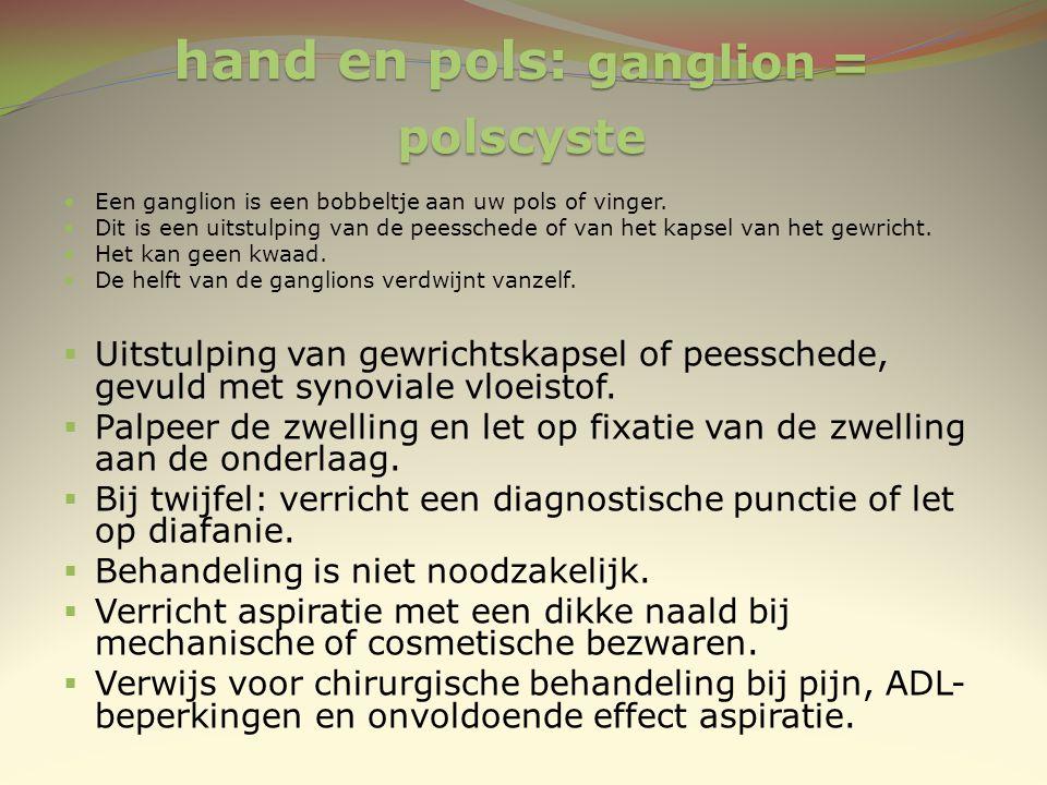 hand en pols: ganglion = polscyste Een ganglion is een bobbeltje aan uw pols of vinger. Dit is een uitstulping van de peesschede of van het kapsel van