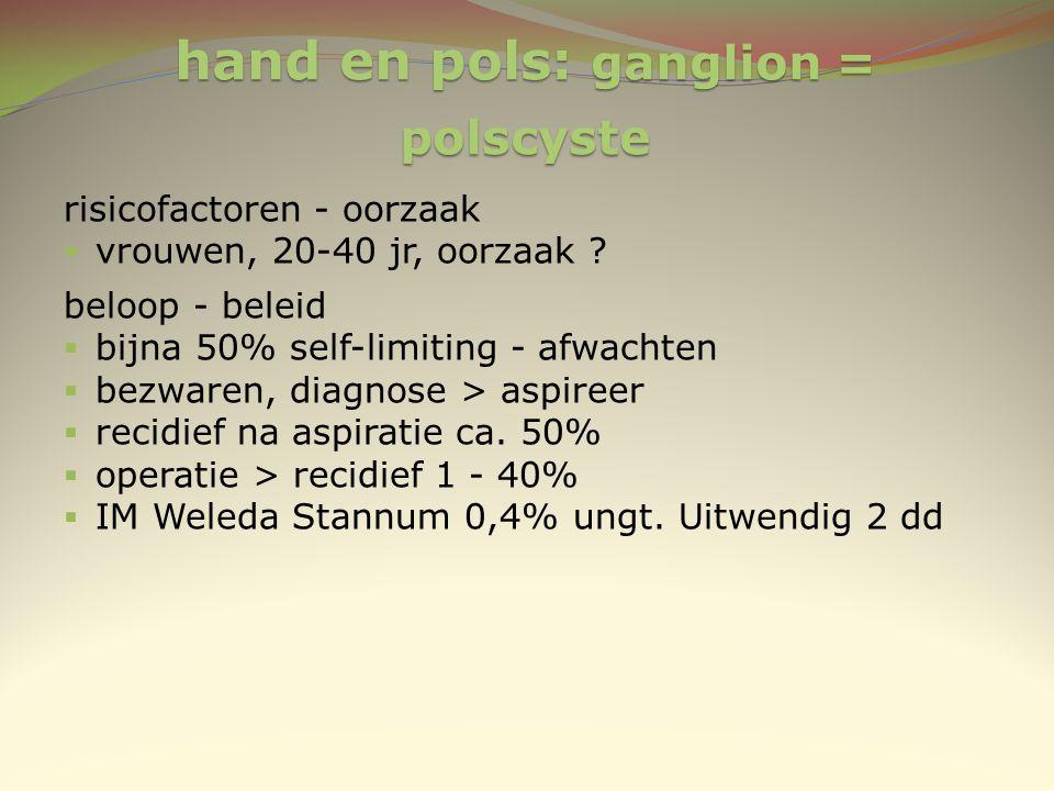 hand en pols: ganglion = polscyste risicofactoren - oorzaak  vrouwen, 20-40 jr, oorzaak ? beloop - beleid  bijna 50% self-limiting - afwachten  bez