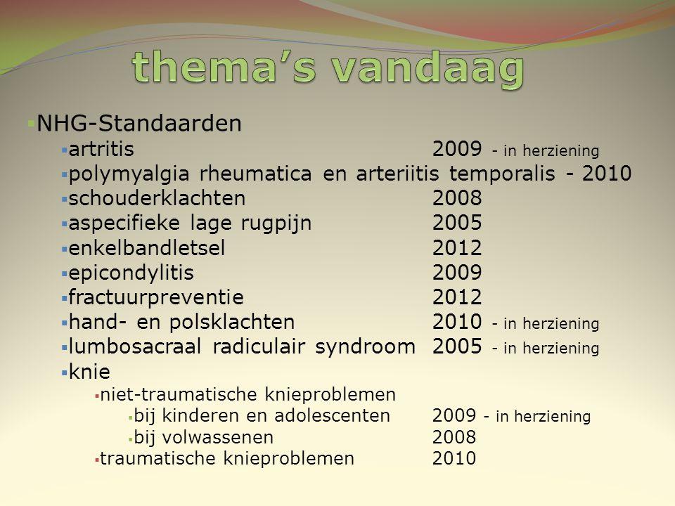  NHG-Standaarden  artritis 2009 - in herziening  polymyalgia rheumatica en arteriitis temporalis - 2010  schouderklachten 2008  aspecifieke lage
