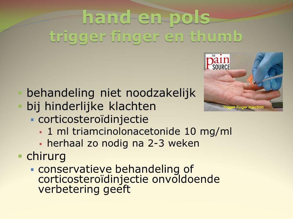 hand en pols trigger finger en thumb  behandeling niet noodzakelijk  bij hinderlijke klachten  corticosteroïdinjectie  1 ml triamcinolonacetonide