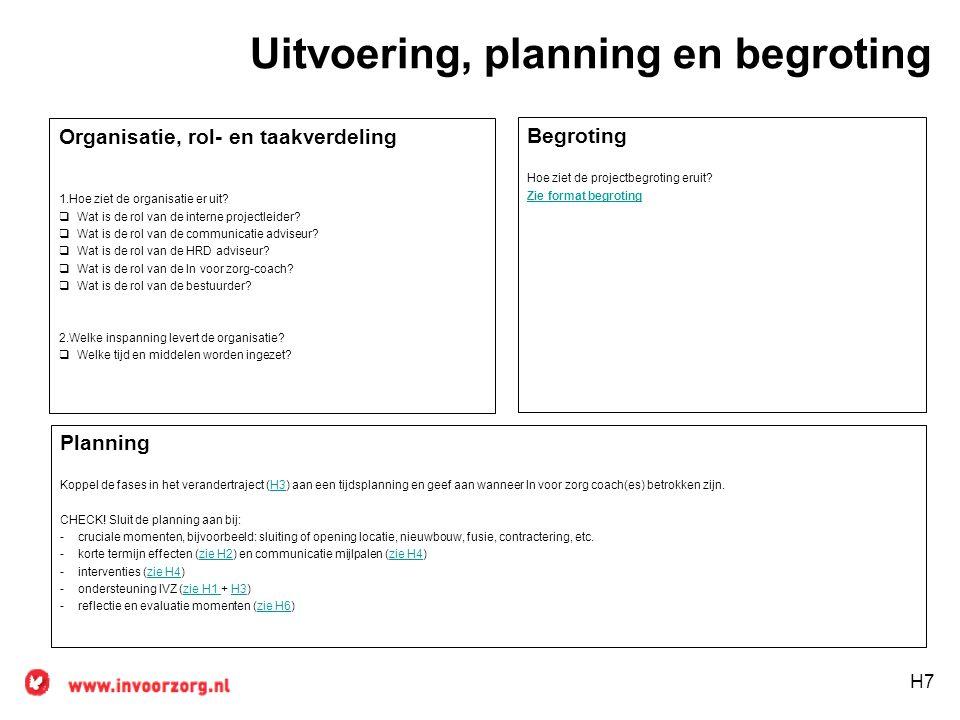 Uitvoering, planning en begroting Organisatie, rol- en taakverdeling 1.Hoe ziet de organisatie er uit?  Wat is de rol van de interne projectleider? 