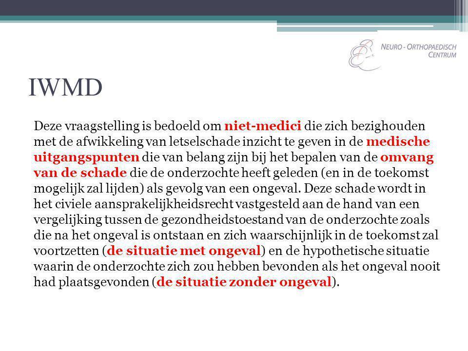 IWMD Deze vraagstelling is bedoeld om niet-medici die zich bezighouden met de afwikkeling van letselschade inzicht te geven in de medische uitgangspun
