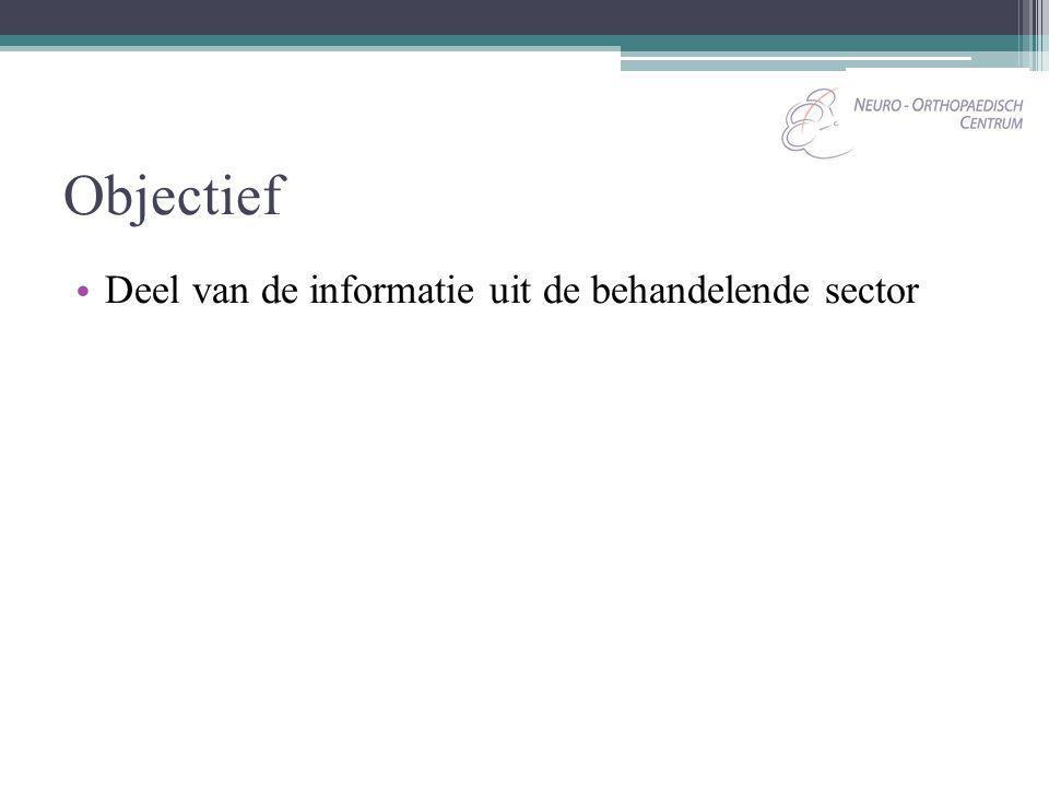 Objectief Deel van de informatie uit de behandelende sector