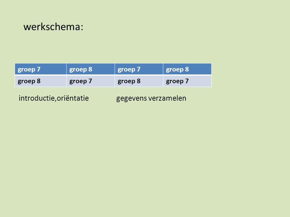 introductie,oriëntatie gegevens verzamelen groep 7groep 8groep 7groep 8 groep 7groep 8groep 7 werkschema: