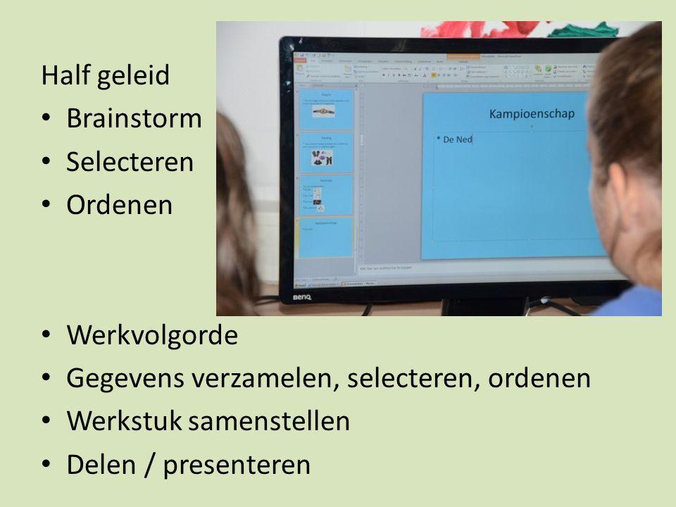 Half geleid Brainstorm Selecteren Ordenen Werkvolgorde Gegevens verzamelen, selecteren, ordenen Werkstuk samenstellen Delen / presenteren