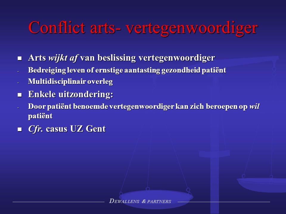 Conflict arts- vertegenwoordiger Arts wijkt af van beslissing vertegenwoordiger Arts wijkt af van beslissing vertegenwoordiger - Bedreiging leven of e