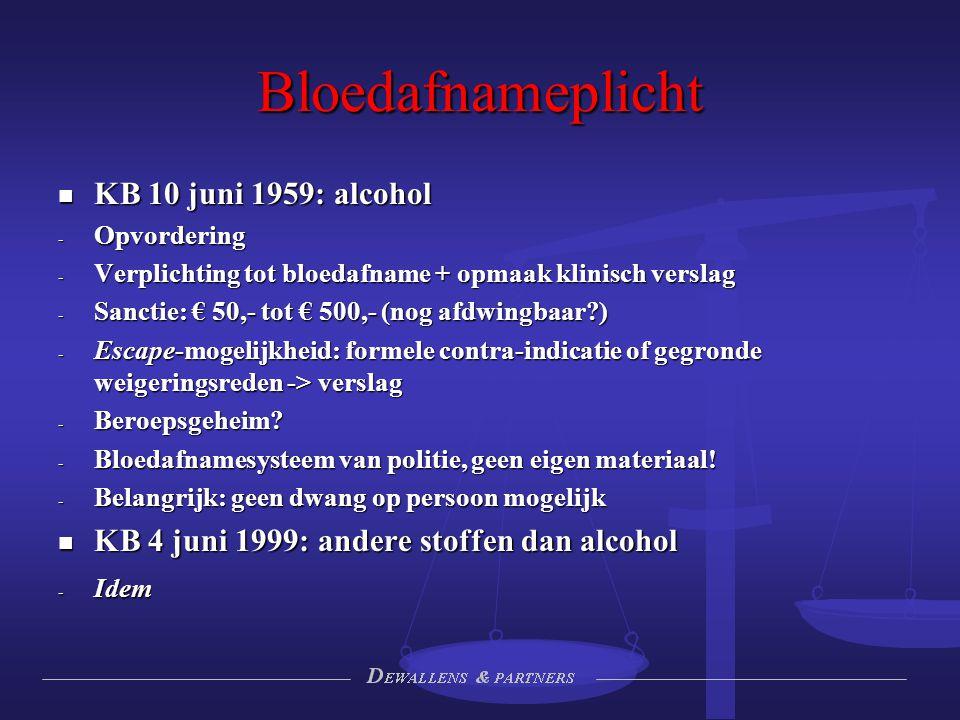 Bloedafnameplicht KB 10 juni 1959: alcohol KB 10 juni 1959: alcohol - Opvordering - Verplichting tot bloedafname + opmaak klinisch verslag - Sanctie:
