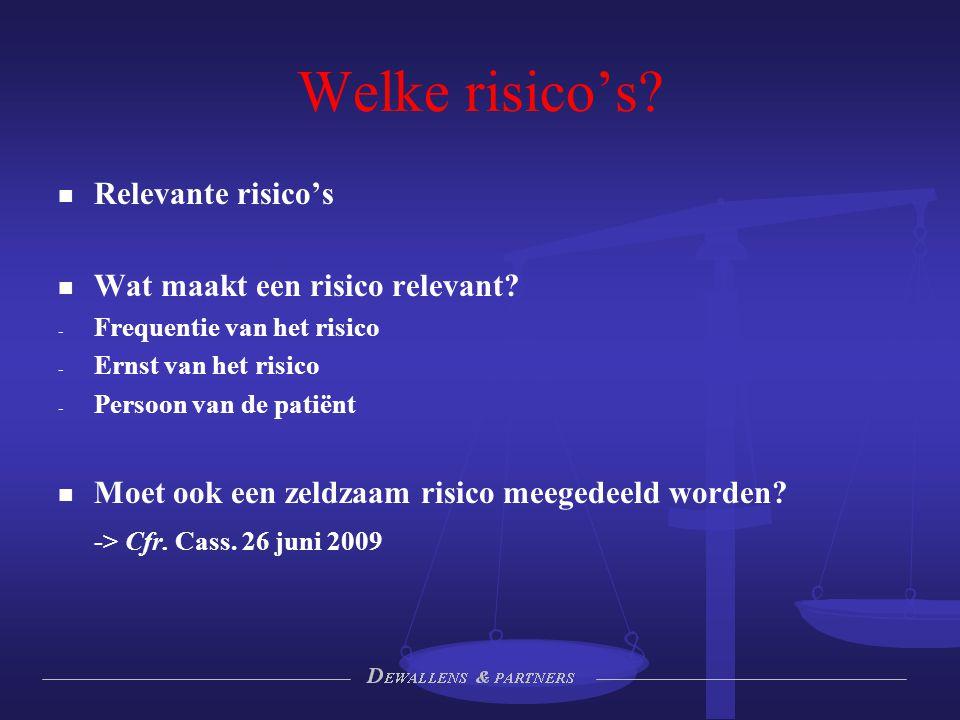 Welke risico's? Relevante risico's Wat maakt een risico relevant? - - Frequentie van het risico - - Ernst van het risico - - Persoon van de patiënt Mo