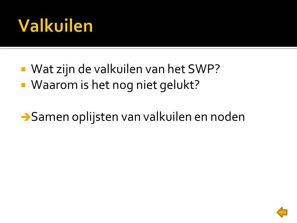  Wat zijn de valkuilen van het SWP.  Waarom is het nog niet gelukt.