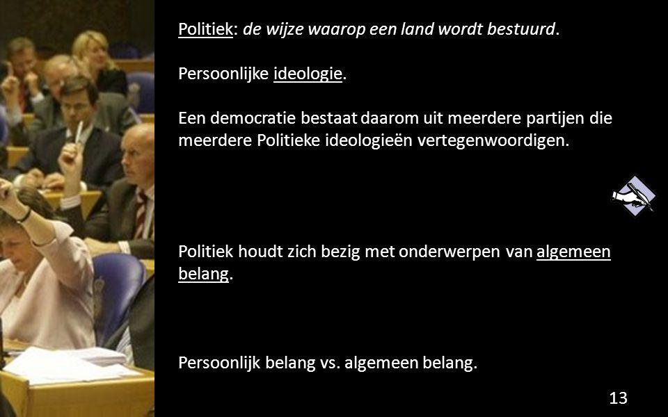 Politiek: de wijze waarop een land wordt bestuurd. Persoonlijke ideologie. Een democratie bestaat daarom uit meerdere partijen die meerdere Politieke