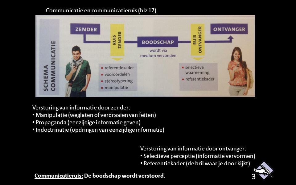 Communicatie en communicatieruis (blz 17) Verstoring van informatie door zender: Manipulatie (weglaten of verdraaien van feiten) Propaganda (eenzijdige informatie geven) Indoctrinatie (opdringen van eenzijdige informatie) Verstoring van informatie door ontvanger: Selectieve perceptie (informatie vervormen) Referentiekader (de bril waar je door kijkt) Communicatieruis: De boodschap wordt verstoord.