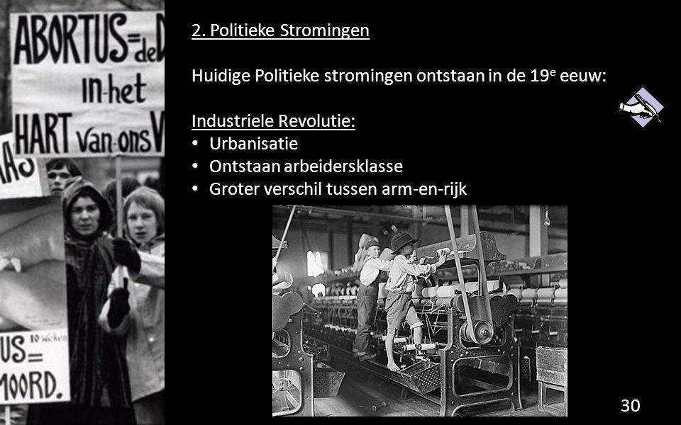 2. Politieke Stromingen Huidige Politieke stromingen ontstaan in de 19 e eeuw: Industriele Revolutie: Urbanisatie Ontstaan arbeidersklasse Groter vers