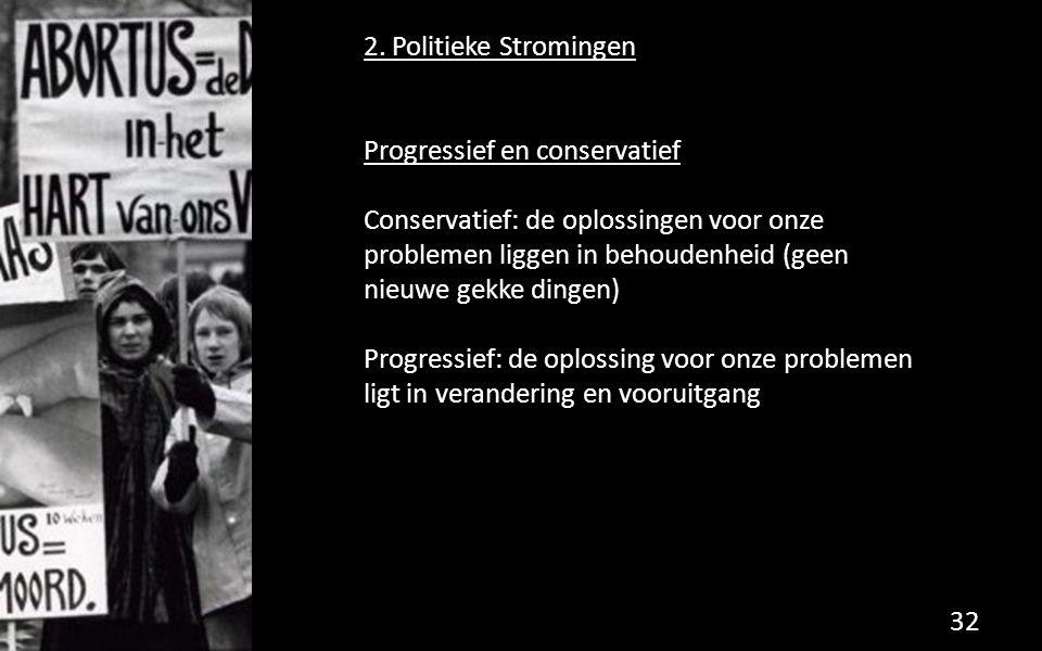2. Politieke Stromingen Progressief en conservatief Conservatief: de oplossingen voor onze problemen liggen in behoudenheid (geen nieuwe gekke dingen)