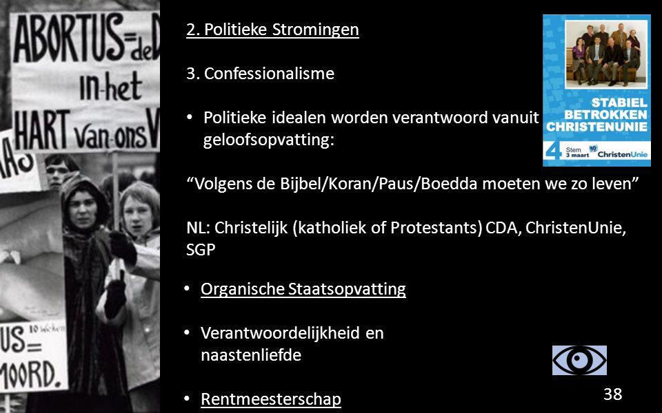 """2. Politieke Stromingen 3. Confessionalisme Politieke idealen worden verantwoord vanuit geloofsopvatting: """"Volgens de Bijbel/Koran/Paus/Boedda moeten"""