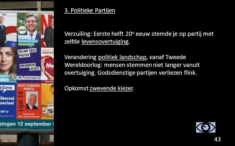 3. Politieke Partijen Verzuiling: Eerste helft 20 e eeuw stemde je op partij met zelfde levensovertuiging. Verandering politiek landschap, vanaf Tweed