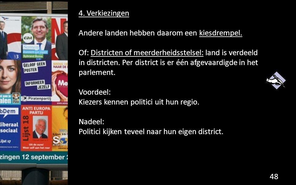4. Verkiezingen Andere landen hebben daarom een kiesdrempel. Of: Districten of meerderheidsstelsel: land is verdeeld in districten. Per district is er