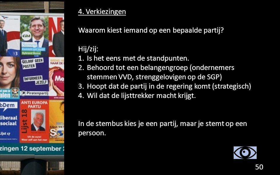 4. Verkiezingen Waarom kiest iemand op een bepaalde partij? Hij/zij: 1.Is het eens met de standpunten. 2.Behoord tot een belangengroep (ondernemers st
