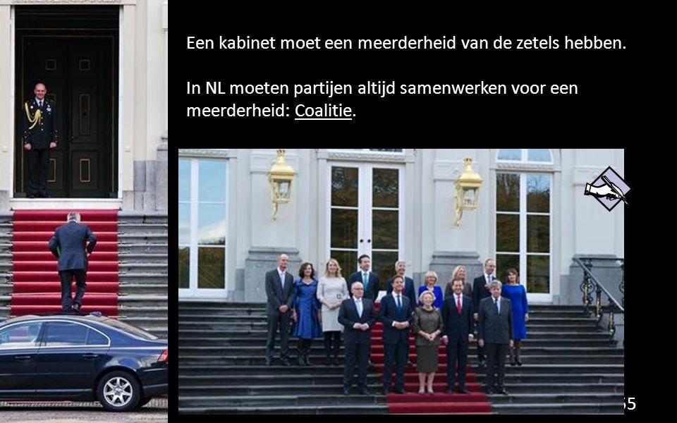 Een kabinet moet een meerderheid van de zetels hebben. In NL moeten partijen altijd samenwerken voor een meerderheid: Coalitie. 55