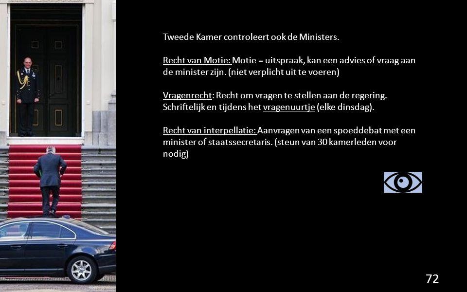 Tweede Kamer controleert ook de Ministers. Recht van Motie: Motie = uitspraak, kan een advies of vraag aan de minister zijn. (niet verplicht uit te vo