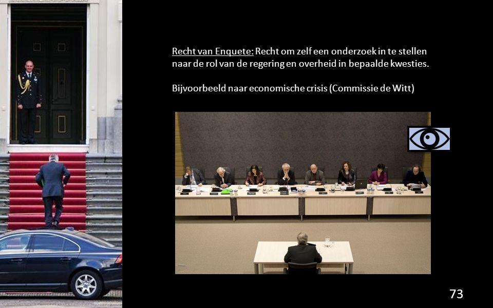 Recht van Enquete: Recht om zelf een onderzoek in te stellen naar de rol van de regering en overheid in bepaalde kwesties. Bijvoorbeeld naar economisc