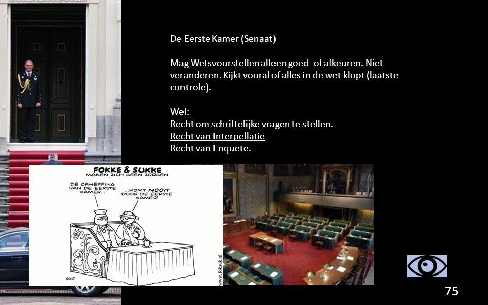 De Eerste Kamer (Senaat) Mag Wetsvoorstellen alleen goed- of afkeuren. Niet veranderen. Kijkt vooral of alles in de wet klopt (laatste controle). Wel: