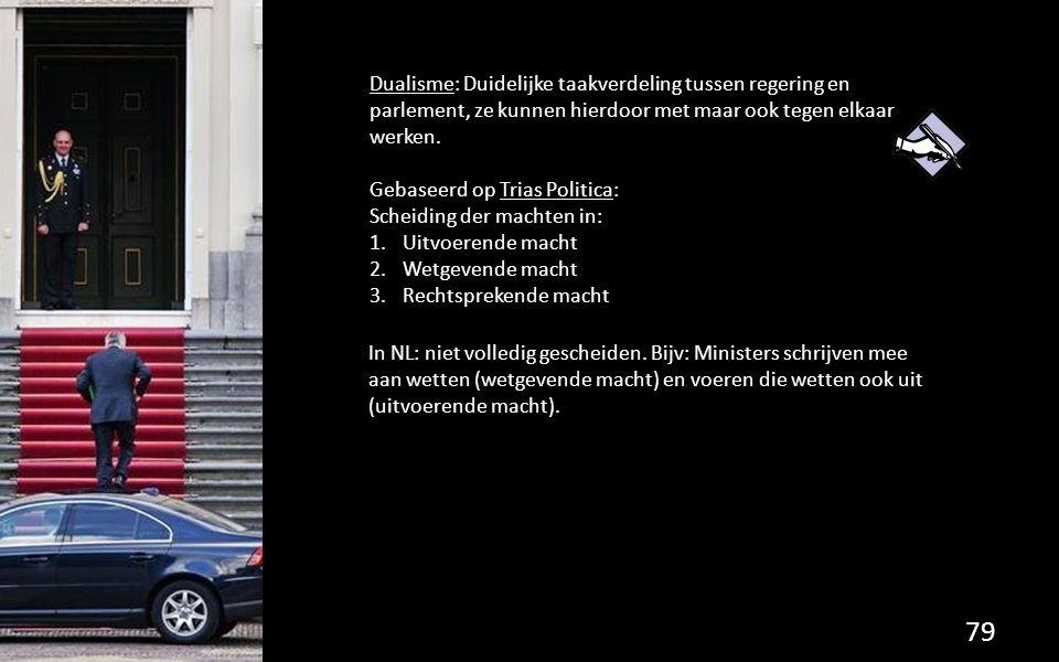 Dualisme: Duidelijke taakverdeling tussen regering en parlement, ze kunnen hierdoor met maar ook tegen elkaar werken. Gebaseerd op Trias Politica: Sch