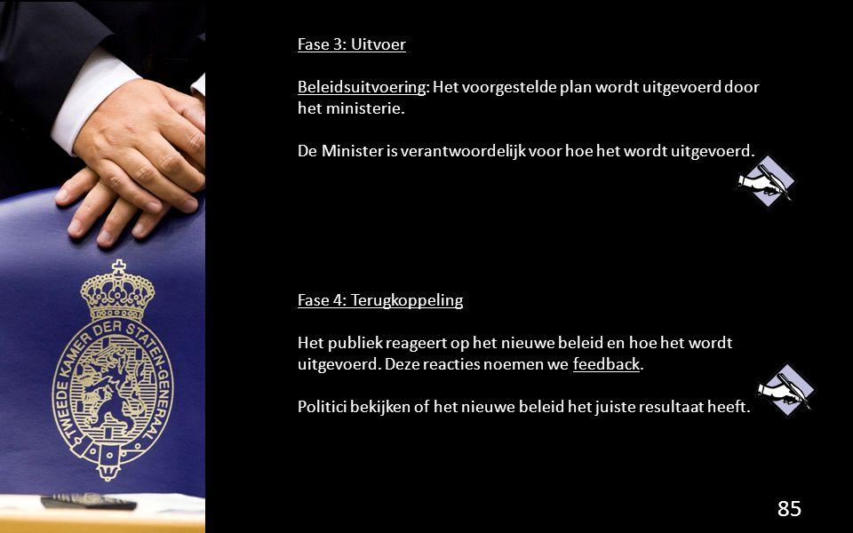 Fase 3: Uitvoer Beleidsuitvoering: Het voorgestelde plan wordt uitgevoerd door het ministerie. De Minister is verantwoordelijk voor hoe het wordt uitg