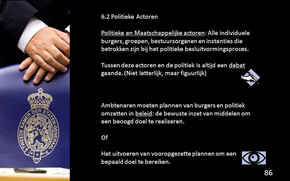 86 6.2 Politieke Actoren Politieke en Maatschappelijke actoren: Alle individuele burgers, groepen, bestuursorganen en instanties die betrokken zijn bij het politieke besluitvormingsproces.