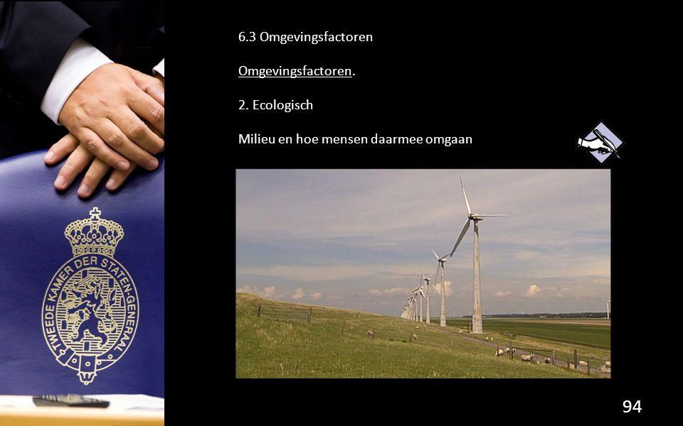 94 6.3 Omgevingsfactoren Omgevingsfactoren. 2. Ecologisch Milieu en hoe mensen daarmee omgaan