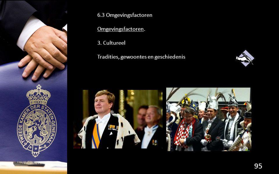 95 6.3 Omgevingsfactoren Omgevingsfactoren. 3. Cultureel Tradities, gewoontes en geschiedenis