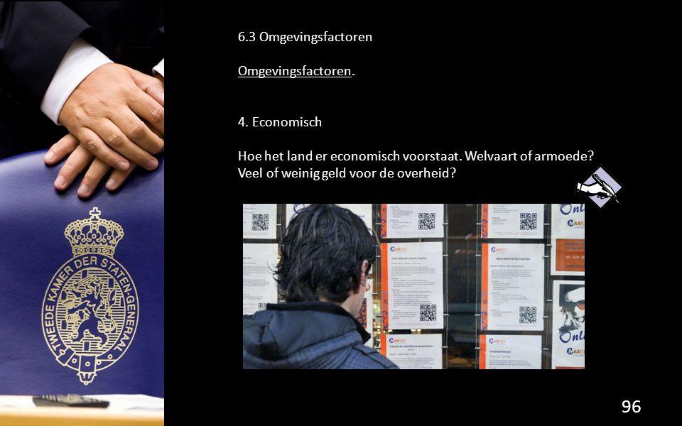 96 6.3 Omgevingsfactoren Omgevingsfactoren.4. Economisch Hoe het land er economisch voorstaat.