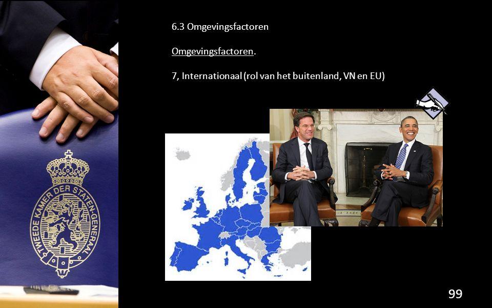 99 6.3 Omgevingsfactoren Omgevingsfactoren. 7, Internationaal (rol van het buitenland, VN en EU)