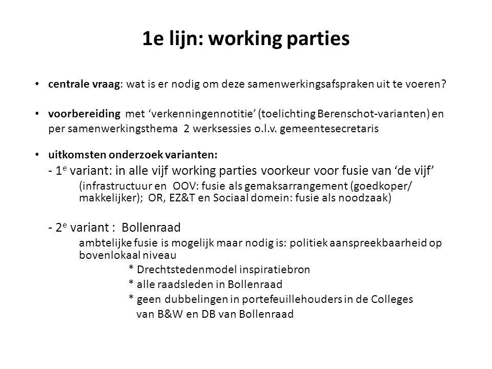 1e lijn: working parties centrale vraag: wat is er nodig om deze samenwerkingsafspraken uit te voeren.