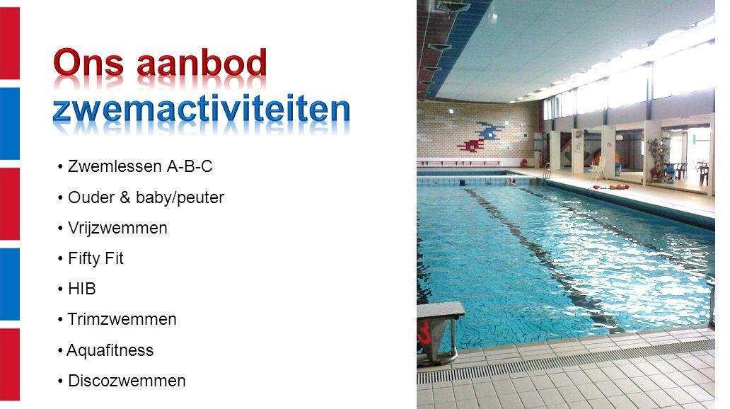 Zwemlessen A-B-C Ouder & baby/peuter Vrijzwemmen Fifty Fit HIB Trimzwemmen Aquafitness Discozwemmen