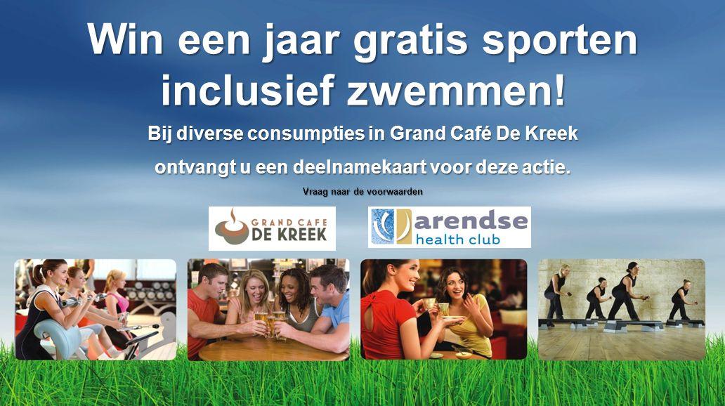 Win een jaar gratis sporten inclusief zwemmen! Bij diverse consumpties in Grand Café De Kreek ontvangt u een deelnamekaart voor deze actie. Vraag naar