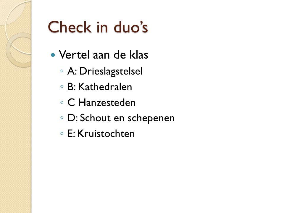 Check in duo's Vertel aan de klas ◦ A: Drieslagstelsel ◦ B: Kathedralen ◦ C Hanzesteden ◦ D: Schout en schepenen ◦ E: Kruistochten