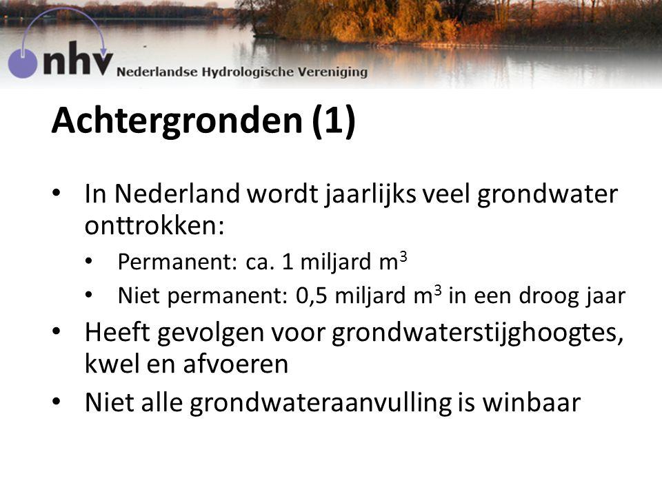 Achtergronden (1) In Nederland wordt jaarlijks veel grondwater onttrokken: Permanent: ca.