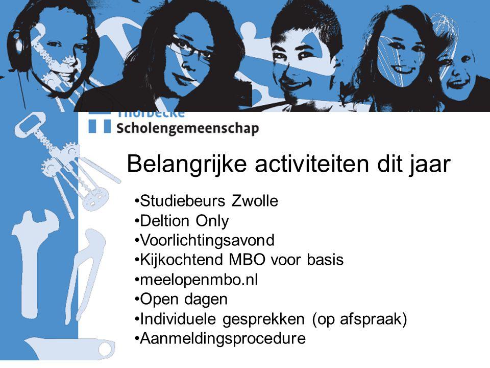 Belangrijke activiteiten dit jaar Studiebeurs Zwolle Deltion Only Voorlichtingsavond Kijkochtend MBO voor basis meelopenmbo.nl Open dagen Individuele gesprekken (op afspraak) Aanmeldingsprocedure