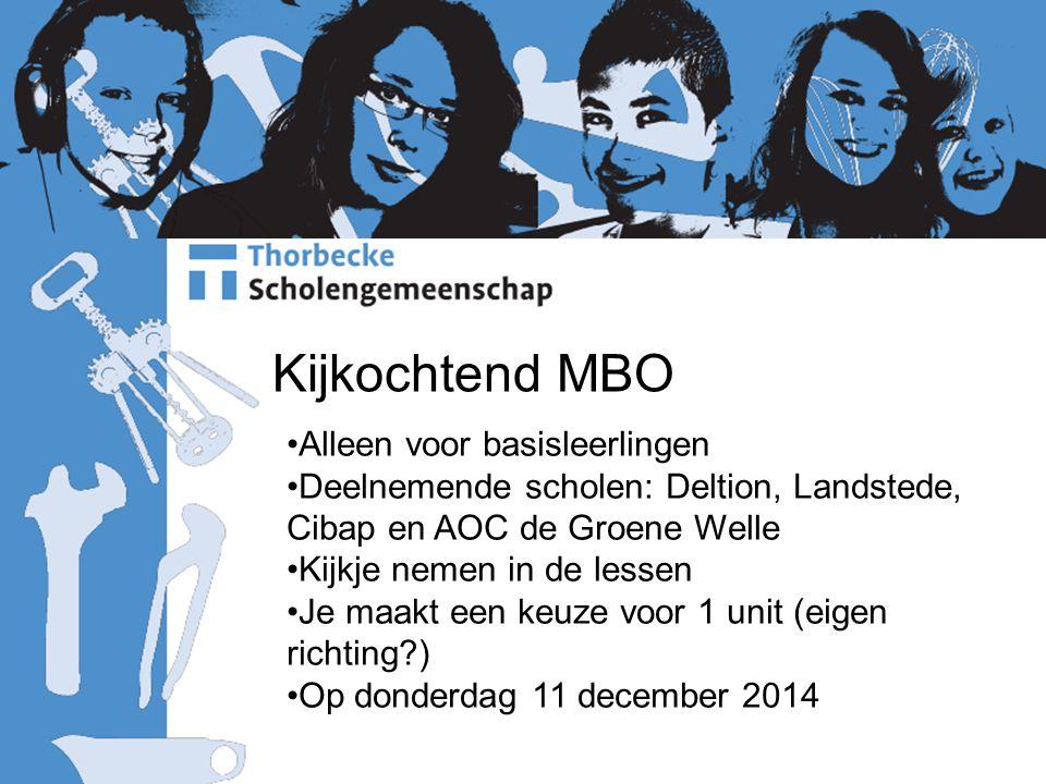 Kijkochtend MBO Alleen voor basisleerlingen Deelnemende scholen: Deltion, Landstede, Cibap en AOC de Groene Welle Kijkje nemen in de lessen Je maakt een keuze voor 1 unit (eigen richting?) Op donderdag 11 december 2014