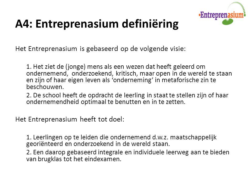 A4: Entreprenasium definiëring Het Entreprenasium is gebaseerd op de volgende visie: 1. Het ziet de (jonge) mens als een wezen dat heeft geleerd om on